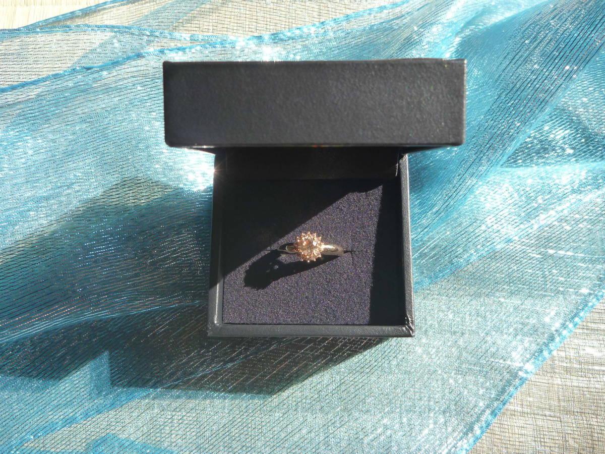 【送料込】GSTV K18 18金 イエローゴールド 指輪 リング 18.5号 ブラウンダイヤモンド 主石0.75ct以上 メレ0.25ct 合計1.00ct 蛍光性ブルー_画像8