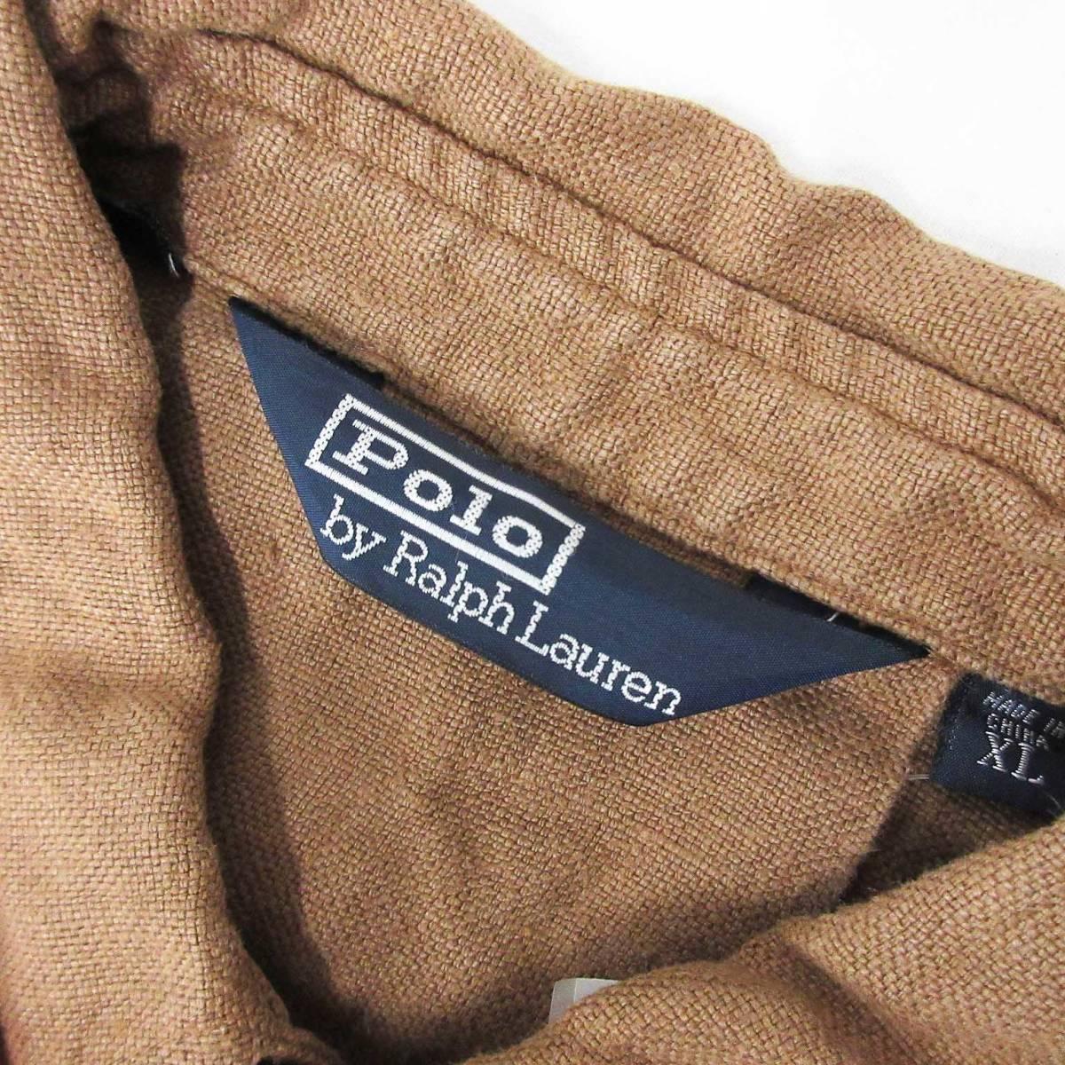 Polo by Ralph Lauren ポロバイラルフローレン ジャケット リネン 麻 100% ベルト ブラウン 茶 XL_画像3