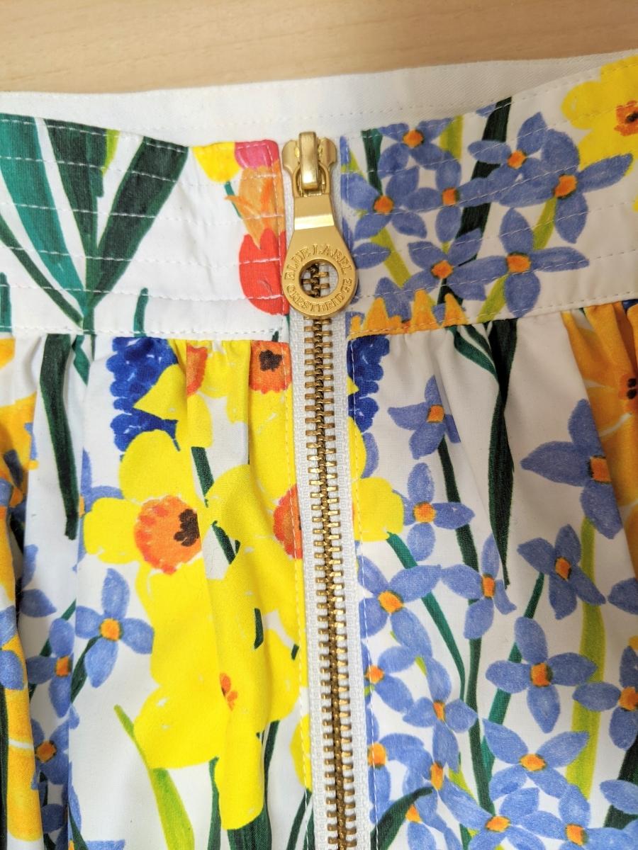 ブルーレーベル クレストブリッジ BLUE LABEL CRESTBRIDGE バックジップ花柄ロングスカート 38(M) マルチカラー _画像2