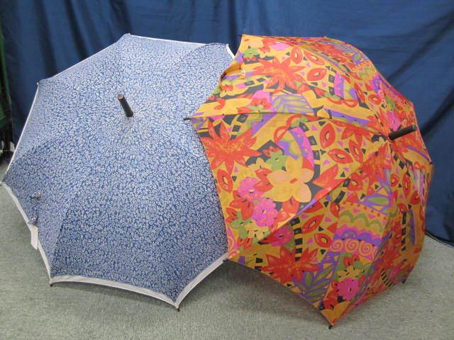 (せ-A1-241) 検品済み レディース 長傘 雨傘 5本セット 花柄 チェック柄 ストライプ柄 他 梅雨 通勤 通学 置き傘 中古_画像3