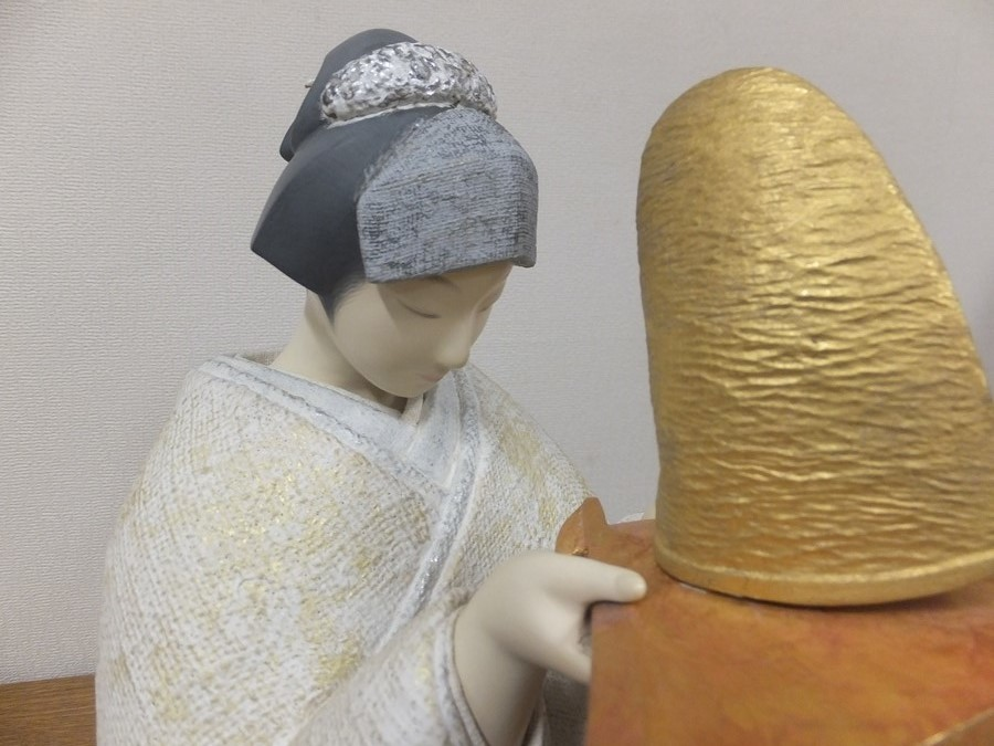 【真作保証】 小松康城 自作 木彫 桐塑布貼人形 第10回日本伝統工芸展 出品作品 (平田郷陽) 第一級銘品 生人形 創作人形の代表作家_画像7