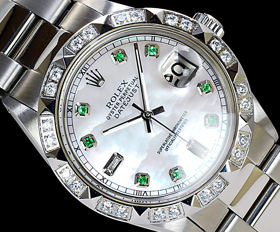 2年保証 ホワイトシェル ロレックス デイトジャスト 8+2P 天然エメラルド/ダイヤ Ref.1601 Cal.1570 OH済 仕上済 ROLEX メンズ 極美品