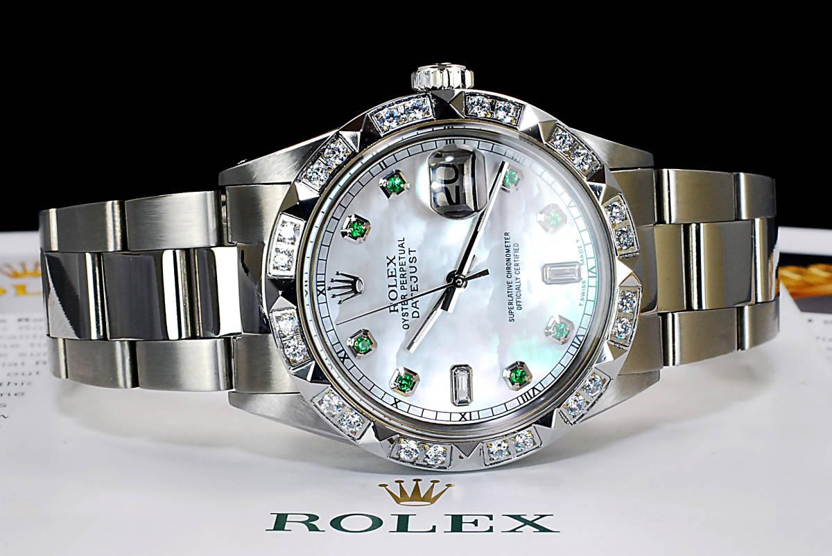 2年保証 ホワイトシェル ロレックス デイトジャスト 8+2P 天然エメラルド/ダイヤ Ref.1601 Cal.1570 OH済 仕上済 ROLEX メンズ 極美品_画像4