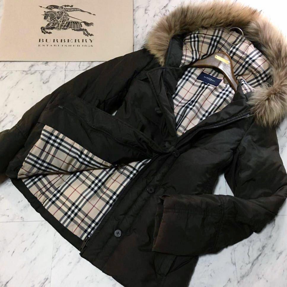 美品BURBERRY10万超【高級ダウン90% 上質ラクーンファ使用】肉厚 ダウンジャケットコート バーバリーロンドン レディース