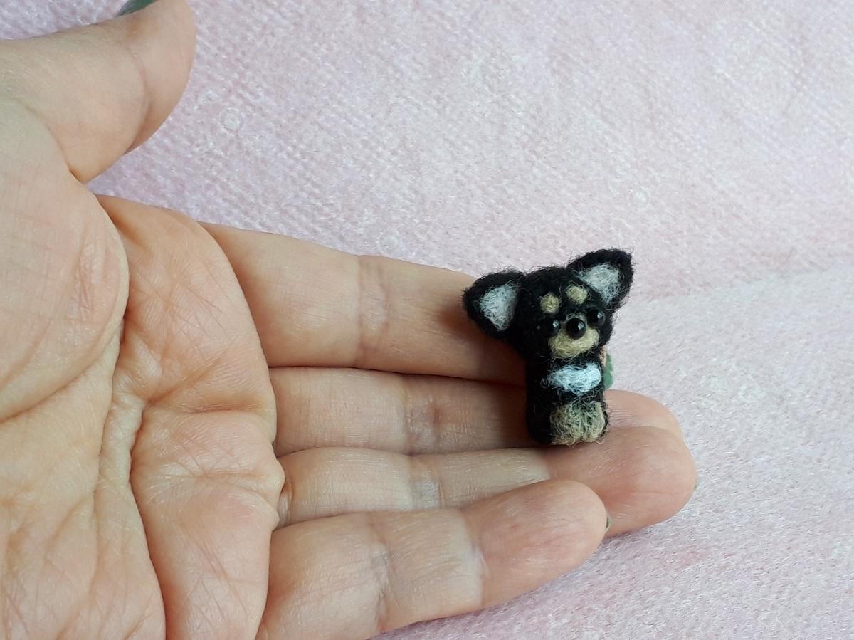 羊毛フェルト ハンドメイド ミニチュア ミニ犬シリーズ チワワ ブラックタン