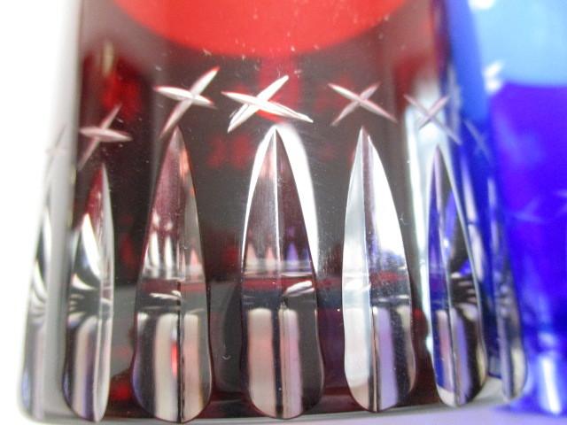 切子 ロックグラス 赤青 桜 2個 グラス ギフト使用可_画像7