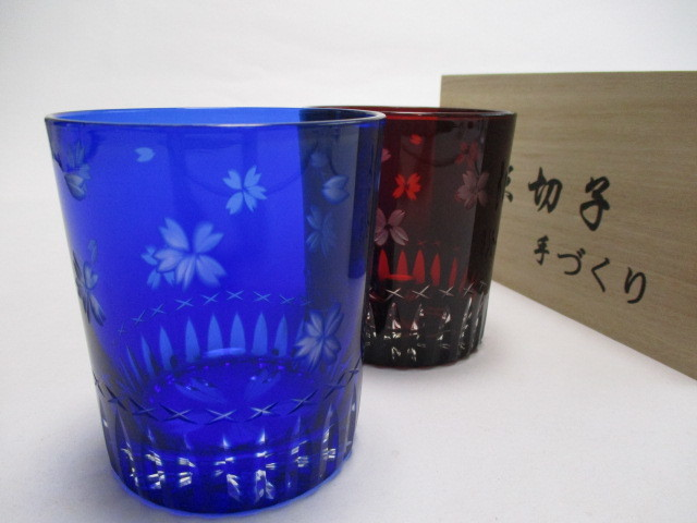 切子 ロックグラス 赤青 桜 2個 グラス ギフト使用可_画像8