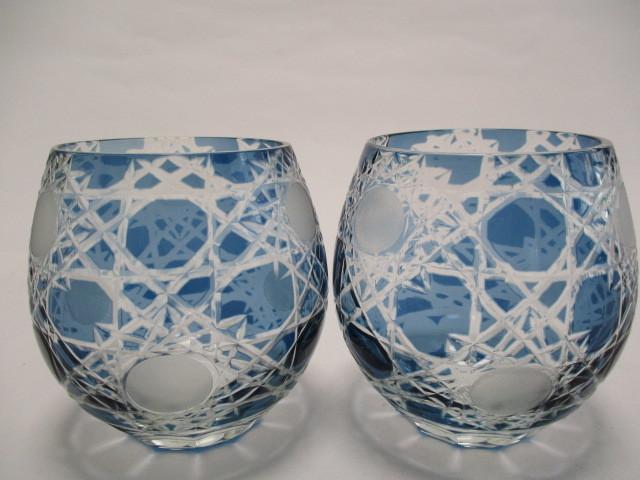 切子 ロックグラス 丸 青 2個 グラス アウトレット品