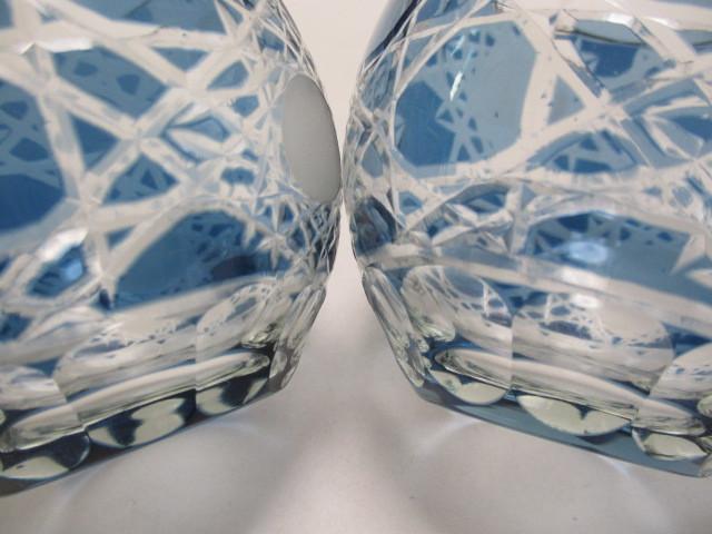 切子 ロックグラス 丸 青 2個 グラス アウトレット品_画像4
