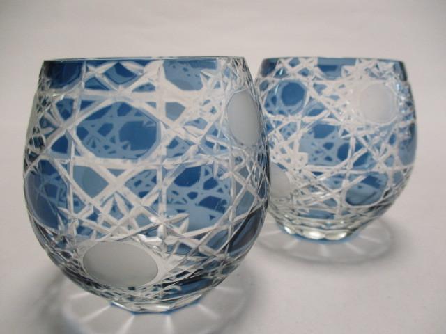 切子 ロックグラス 丸 青 2個 グラス アウトレット品_画像7