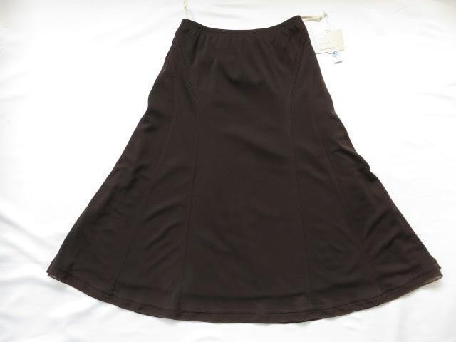 ■新品未使用上質美品ナイガイ【mm maille】 エムエムマイユ日本製洗える高級フレアースカート【64】ブラウン 送料185円 b623