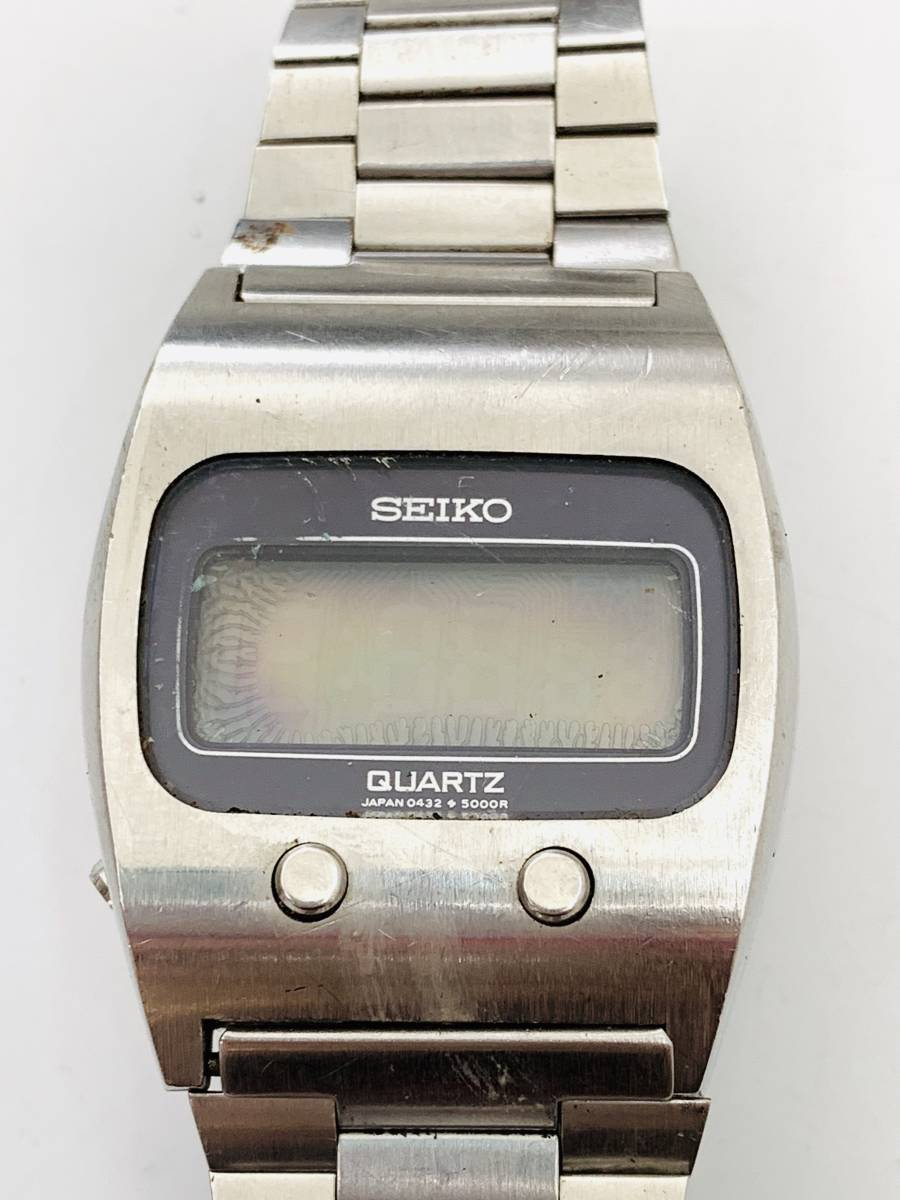 2150 480円~ 中古品 SEIKO/セイコー 初期デジタルウォッチ 0432-5001 フロントボタン クォーツ メンズ 腕時計