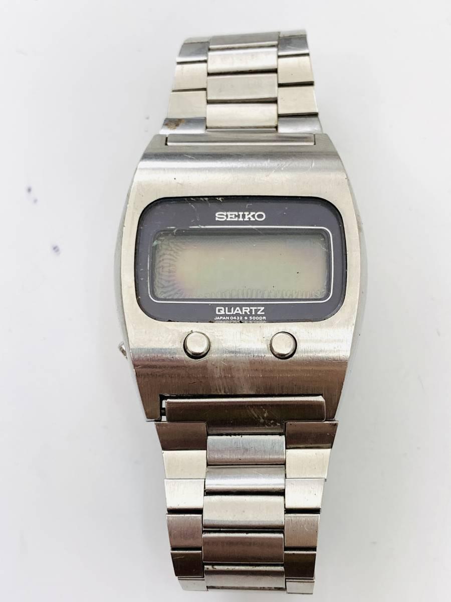2150 480円~ 中古品 SEIKO/セイコー 初期デジタルウォッチ 0432-5001 フロントボタン クォーツ メンズ 腕時計_画像5