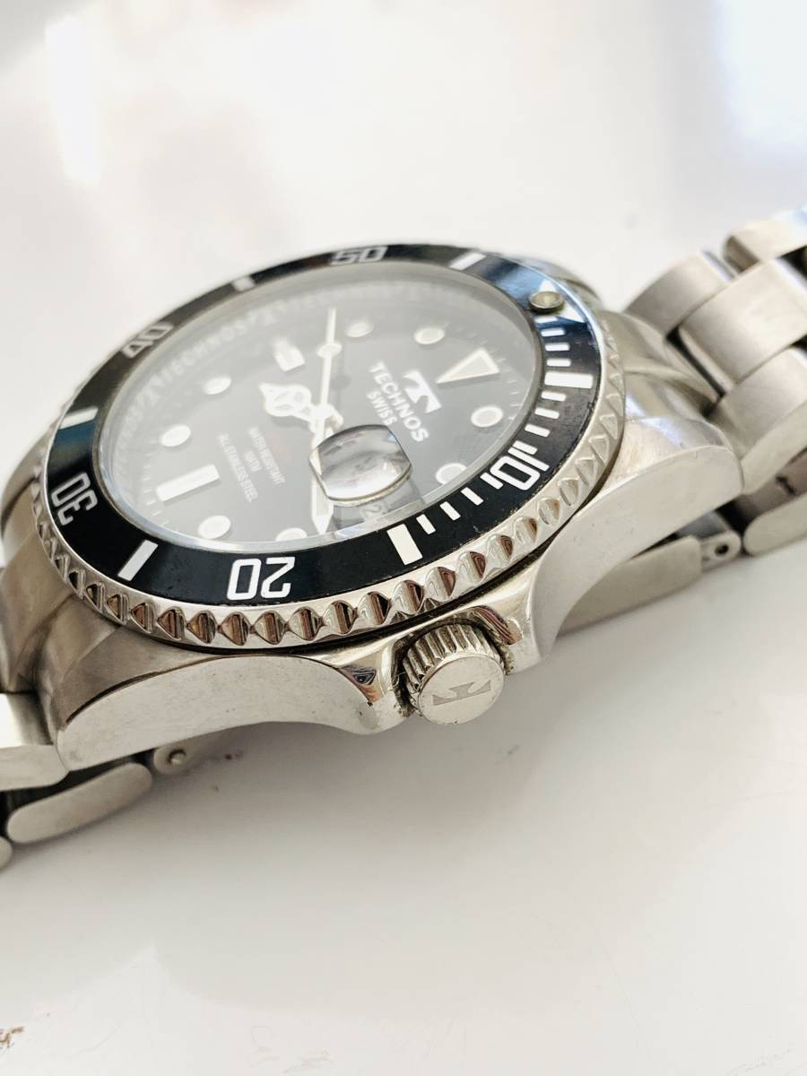 2163 480円~ 中古品 TECHNOS/テクノス AIR DIVER Ⅱ エアダイバー2 TAM629 クォーツ メンズ 腕時計_画像2