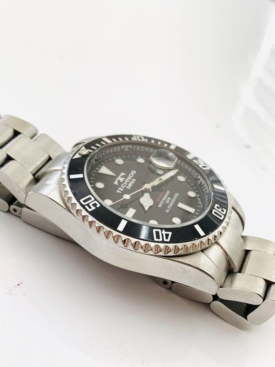 2163 480円~ 中古品 TECHNOS/テクノス AIR DIVER Ⅱ エアダイバー2 TAM629 クォーツ メンズ 腕時計_画像3
