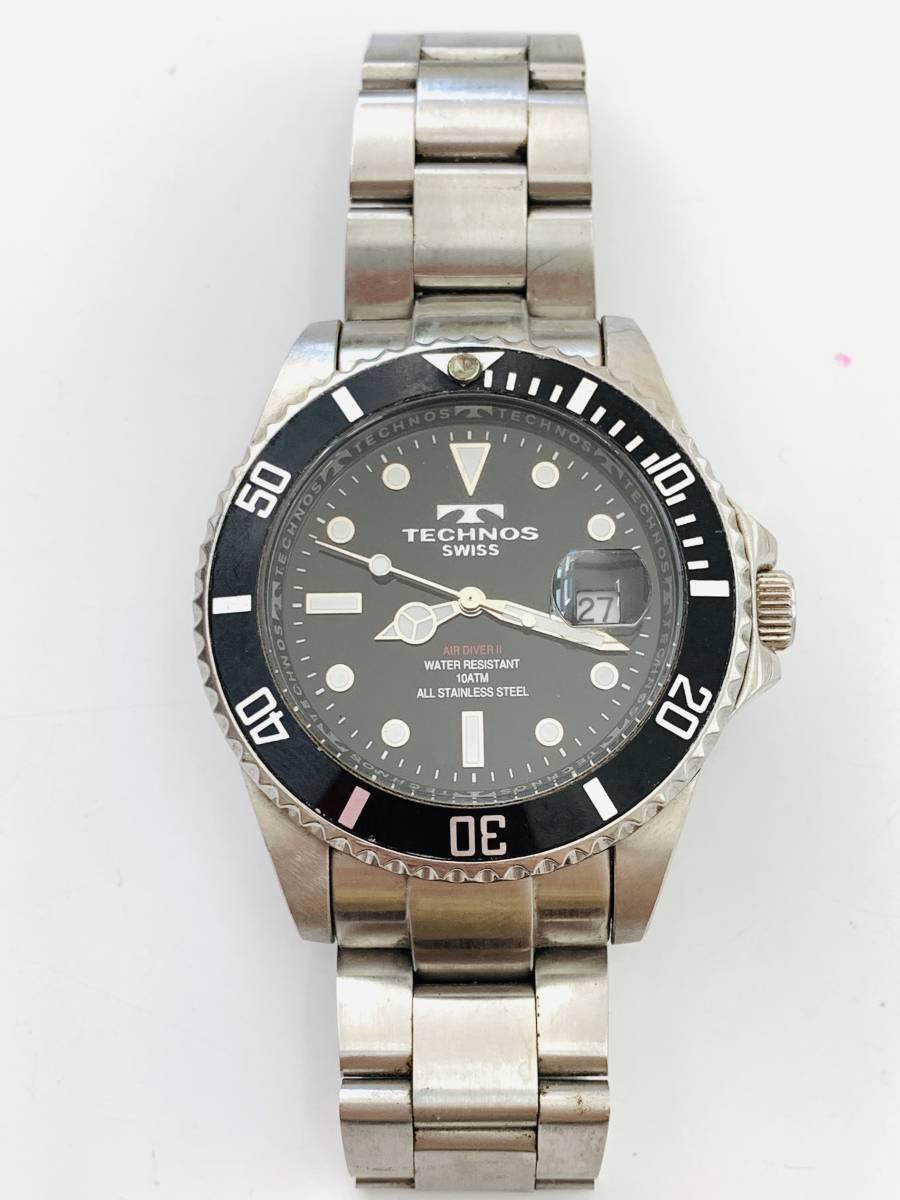 2163 480円~ 中古品 TECHNOS/テクノス AIR DIVER Ⅱ エアダイバー2 TAM629 クォーツ メンズ 腕時計_画像5