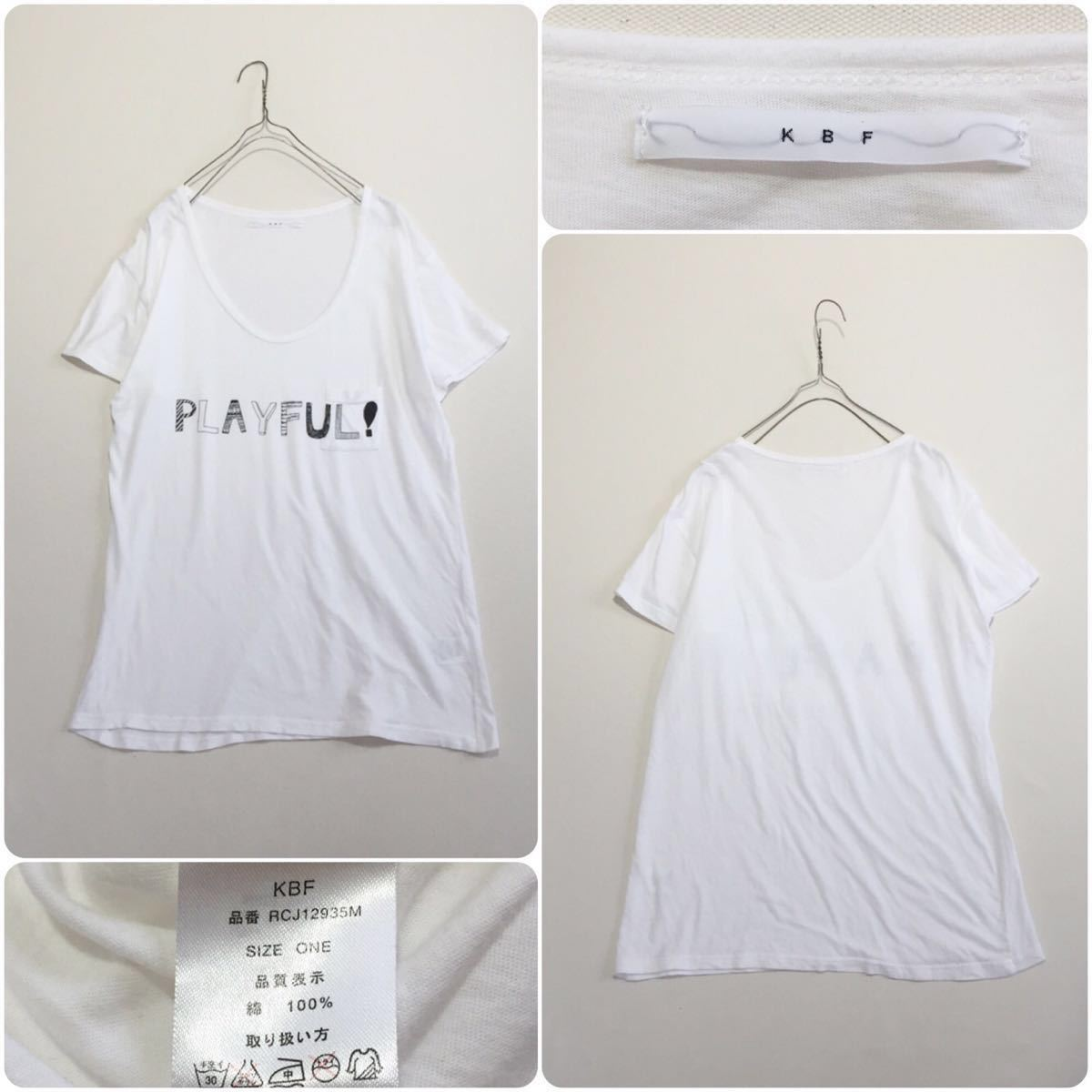 KBF . 胸ポケット ロゴ プリント 半袖 カットソー Tシャツ