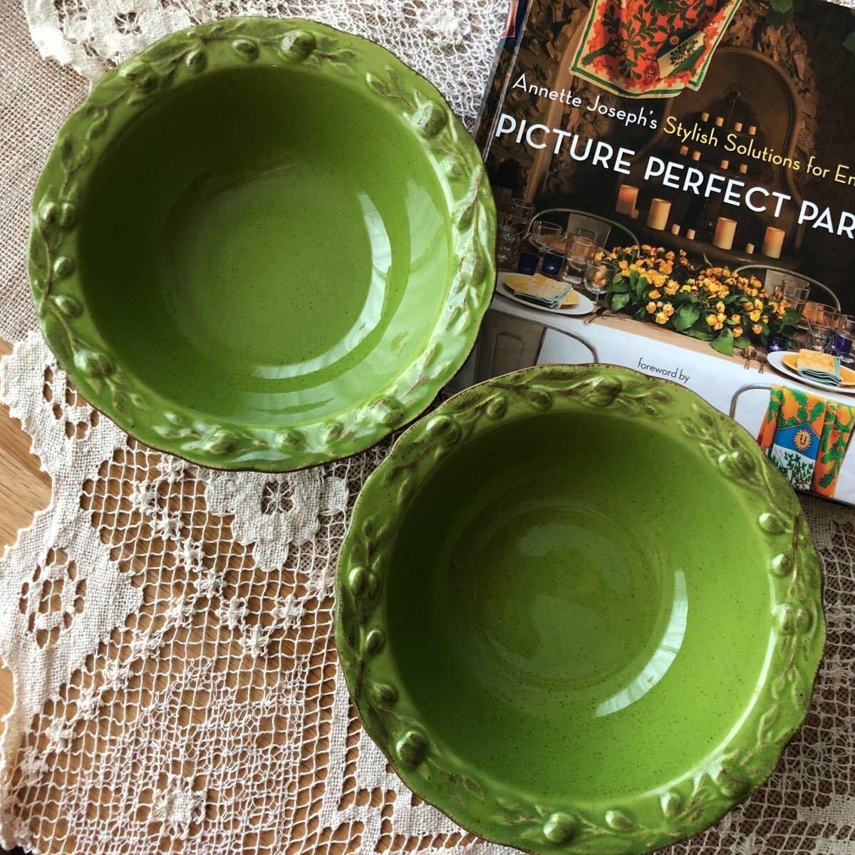 2点セット☆ フリーボウル 20cm リム オリーブ グリーン緑 ラーメン鉢 スープ サラダ パスタ 丼もの 麺料理 ナチュラル studio CLIP購入