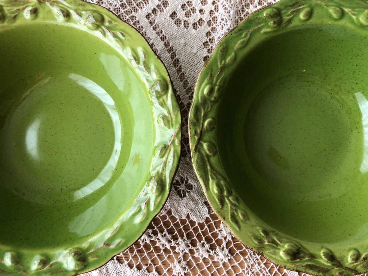 2点セット☆ フリーボウル 20cm リム オリーブ グリーン緑 ラーメン鉢 スープ サラダ パスタ 丼もの 麺料理 ナチュラル studio CLIP購入_画像4