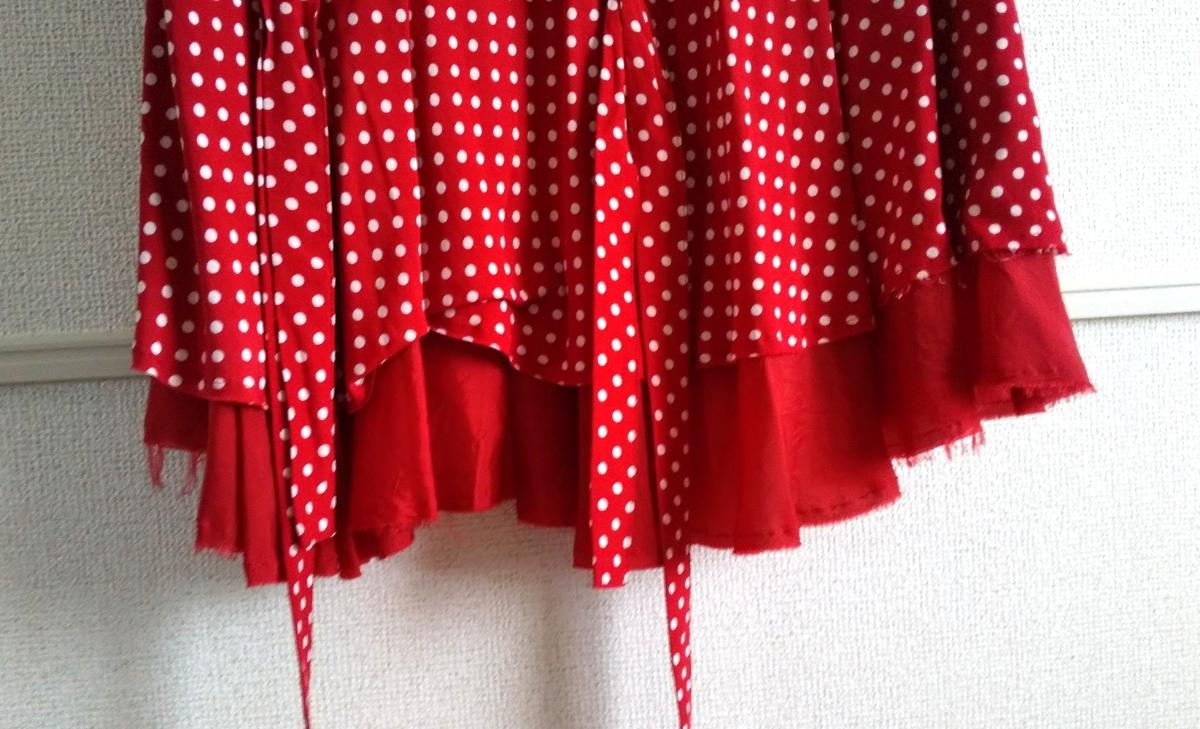 トリココムデギャルソン tricotCOMME des GARCONS 半袖シャツ 変形シャツ 丸襟 ドット 水玉 トップス シフォン 切り替えデザイン_画像4