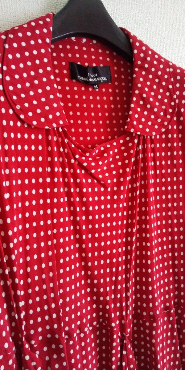トリココムデギャルソン tricotCOMME des GARCONS 半袖シャツ 変形シャツ 丸襟 ドット 水玉 トップス シフォン 切り替えデザイン_画像2