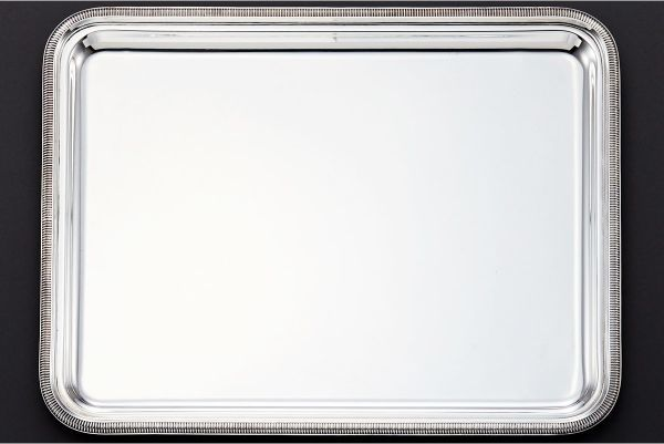 豪華極厚大型。近代クリストフルトレイ 42.8㎝ 32.6㎝ 1715g 純銀950シルバー製