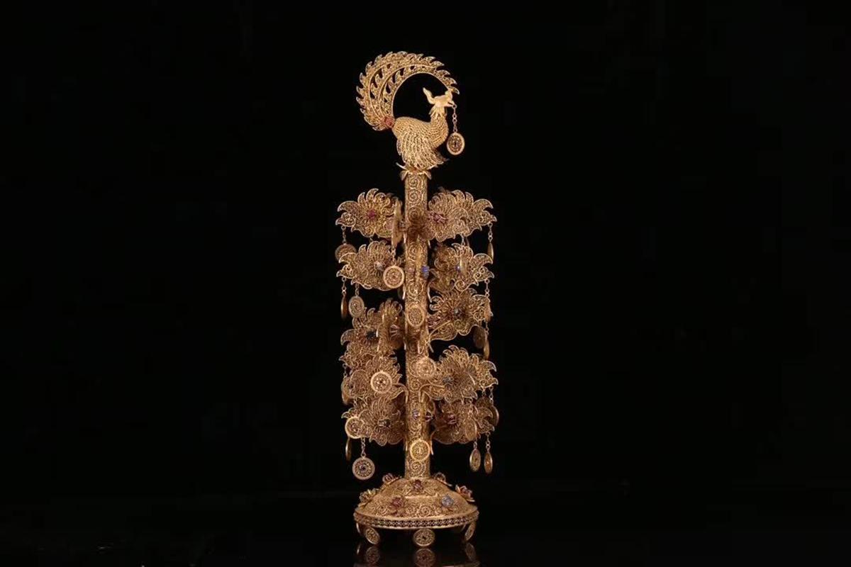 文苑閣◆[4]【清朝 金金の生る木置物】中国古董品 賞物 置物擺件 高さ40cm,底直径10cm
