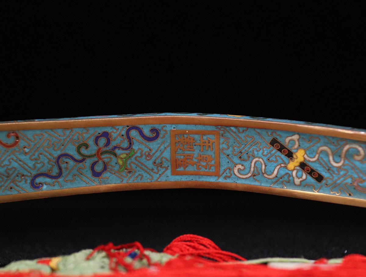 1 七宝焼 嵌和田玉 「御題詩・如意」の束 全長120 cm長さ44 cm幅11.5 cm重さ816.0 g _画像6