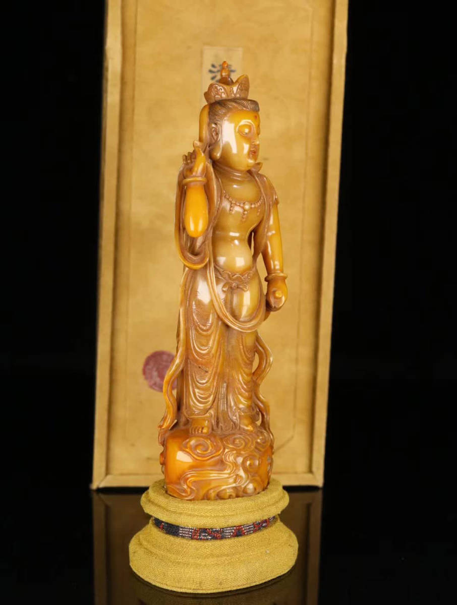 文苑閣◆[1]【田黄-「自在観音像」一点】中国古董品 賞物 置物擺件 高さ20.5cm 横幅6.5×