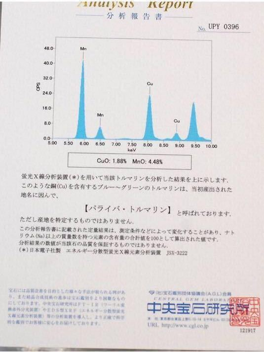 豪華 天然パライバトルマリン0.35ctダイヤモンド0.53ct プラチナPT900指輪 リング Cuo1.88%、Mno4.88% 9号_画像4