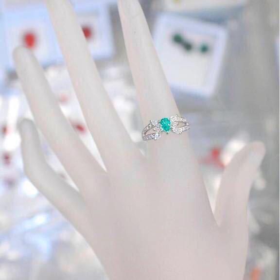 豪華 天然パライバトルマリン0.35ctダイヤモンド0.53ct プラチナPT900指輪 リング Cuo1.88%、Mno4.88% 9号_画像3