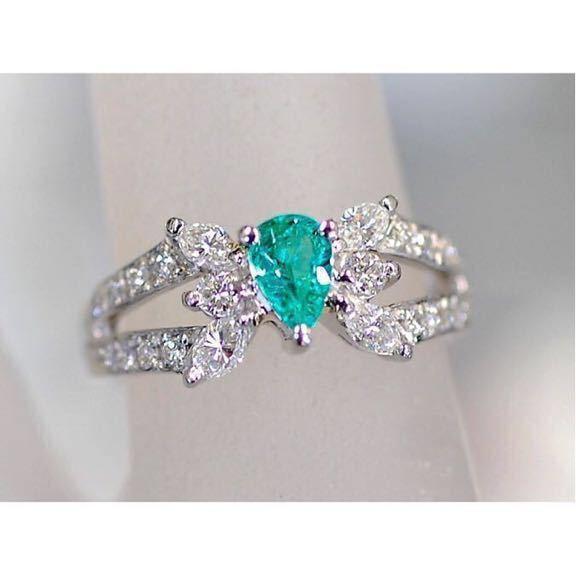 豪華 天然パライバトルマリン0.35ctダイヤモンド0.53ct プラチナPT900指輪 リング Cuo1.88%、Mno4.88% 9号_画像2