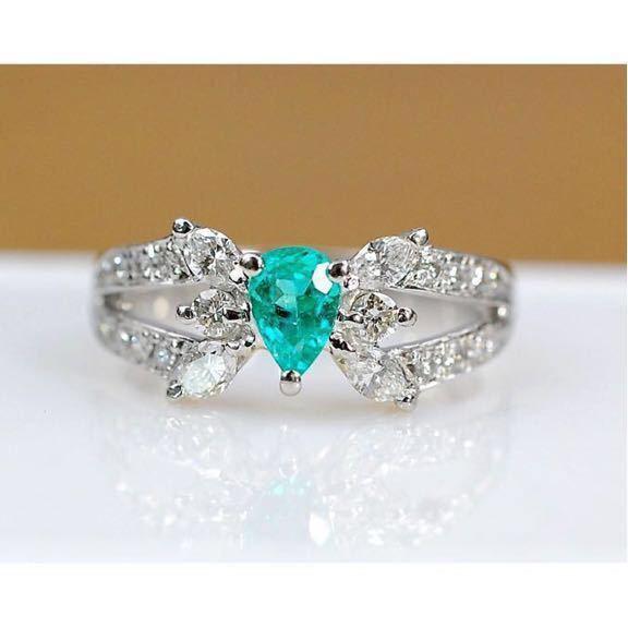 豪華 天然パライバトルマリン0.35ctダイヤモンド0.53ct プラチナPT900指輪 リング Cuo1.88%、Mno4.88% 9号_画像1