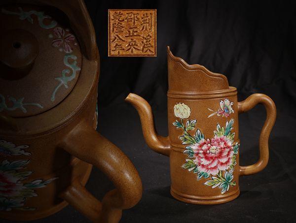 古董品 紫砂壷 唐物 中国古美術 清時代 乾隆八年 邵正來 荊溪 花卉竹形壷 朱泥 急須 茶壷