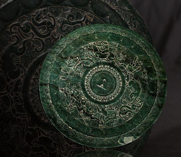 古董品 唐物 中国古美術 漢時代 新疆碧玉 瑪納斯碧玉 玉鏡 人物獸紋 置物 擺件 賞物 精美