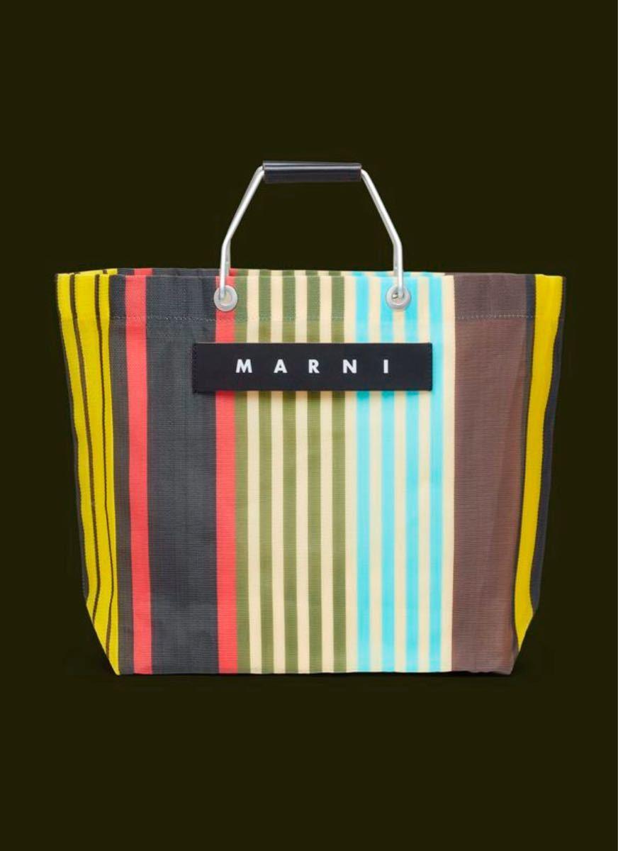 MARNI MARKET ポリアミド製ショッピングバッグ ストライプ イエロー/レッド/グリーン/ブルー マルニ マルニマーケット_画像2
