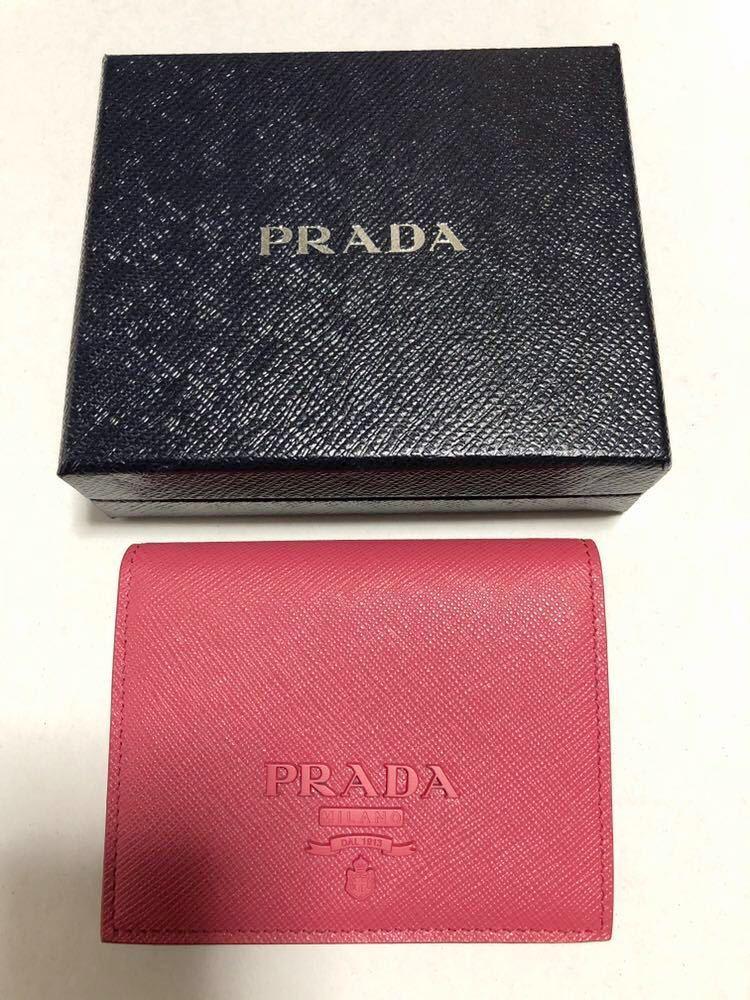f82fd2e4fe8d PRADAプラダ☆サフィアーノ 二つ折り財布 PEONIA ペオニーピンク☆ギャランティカード&専用箱