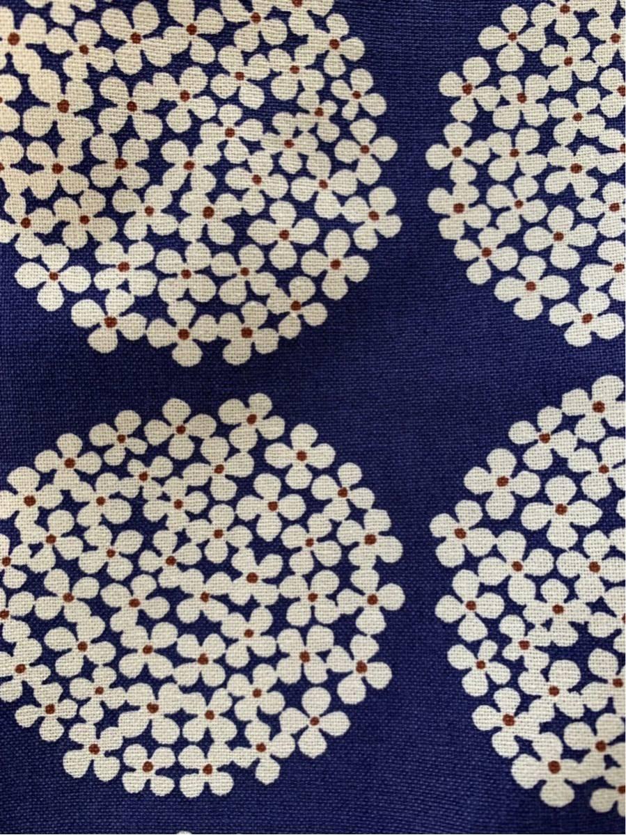 ハンドメイド  トートバッグ 紫陽花 花柄 北欧柄 ネイビー_画像8