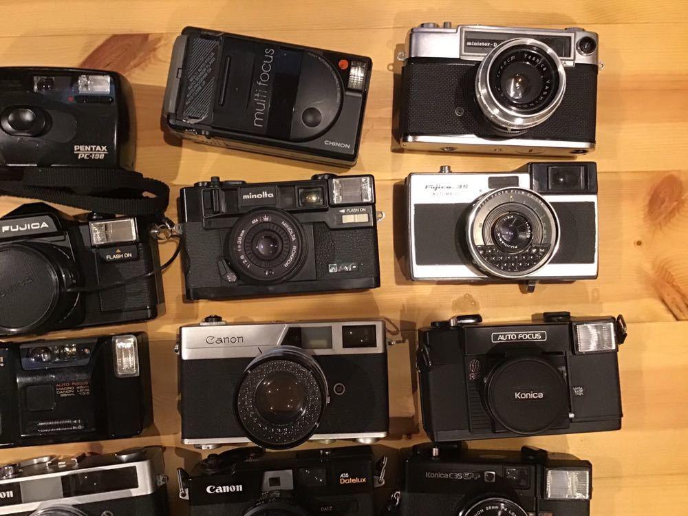 ジャンク コンパクトフィルムカメラ まとめて 28台セット RICOH MINOLTA KONICA OLYMPUS CANON FUJICA CHINONYASHICA PENTAX 等_画像3