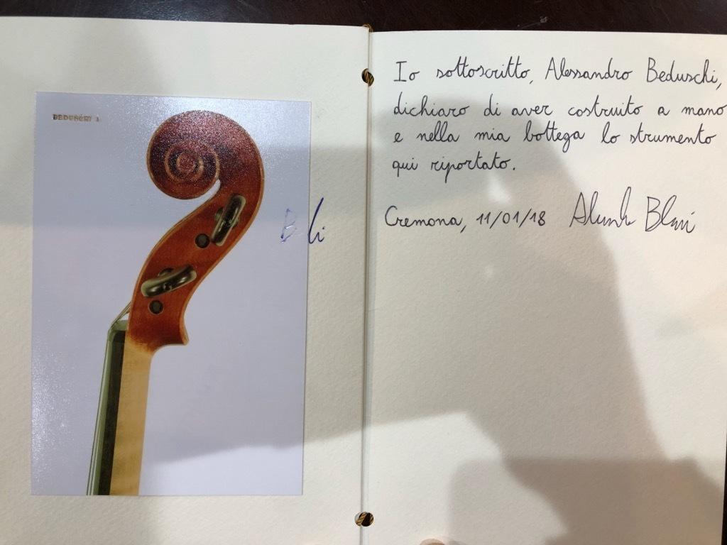 バイオリン イタリア製 Alessandro Beduxschi 作 マイスターメイド 2017年製 製作証明書付!参考価格120万円!店内在庫完全赤字処分!_画像9