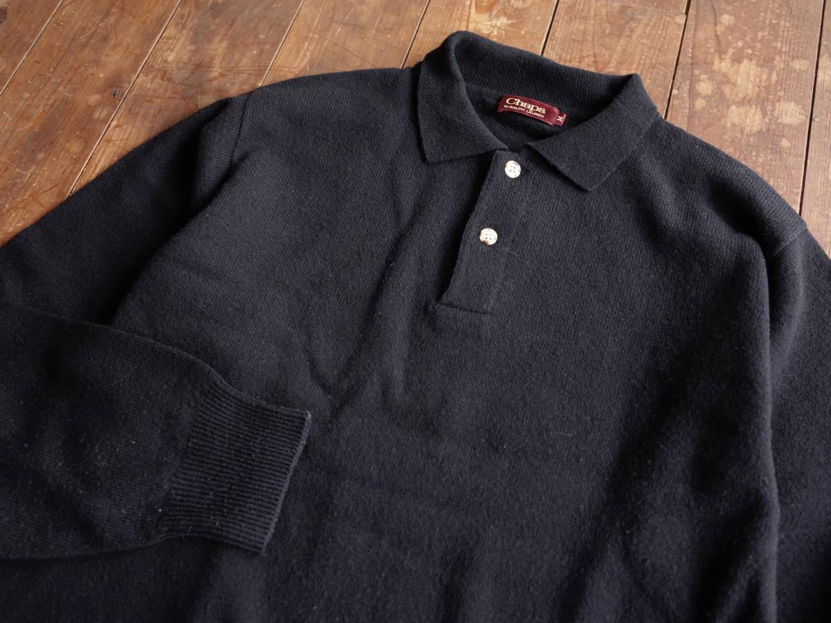 レア【超美品】Polo Ralph Lauren 90's CHAPS 日本製 長袖 ポロシャツ 薄手 ニット生地 シンプル ビンテージ 日登美 ★_画像2