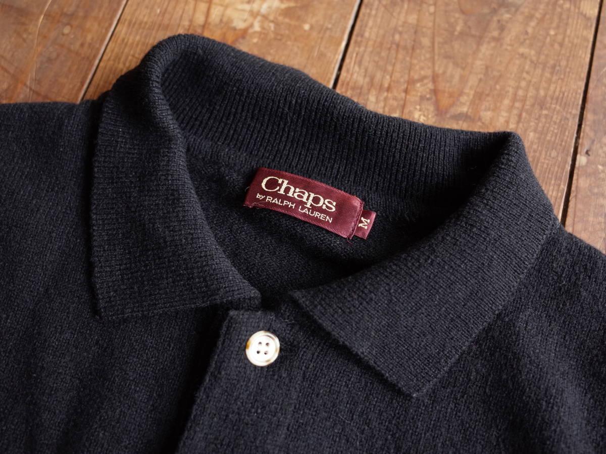 レア【超美品】Polo Ralph Lauren 90's CHAPS 日本製 長袖 ポロシャツ 薄手 ニット生地 シンプル ビンテージ 日登美 ★_画像3