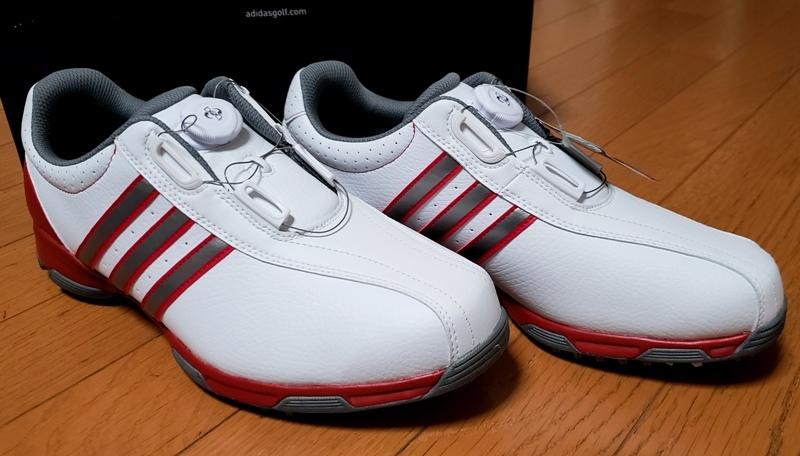 adidasゴルフシューズ(ボア)ホワイト シルバー&レッドステッチライン(26.5~27.0cm)=ヤフネコで送料安め=_画像6