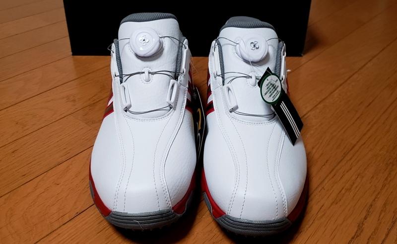 adidasゴルフシューズ(ボア)ホワイト シルバー&レッドステッチライン(26.5~27.0cm)=ヤフネコで送料安め=_画像4