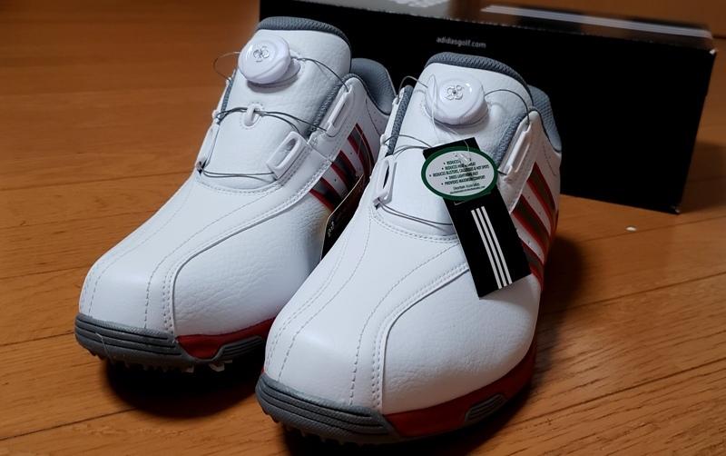 adidasゴルフシューズ(ボア)ホワイト シルバー&レッドステッチライン(26.5~27.0cm)=ヤフネコで送料安め=_画像3