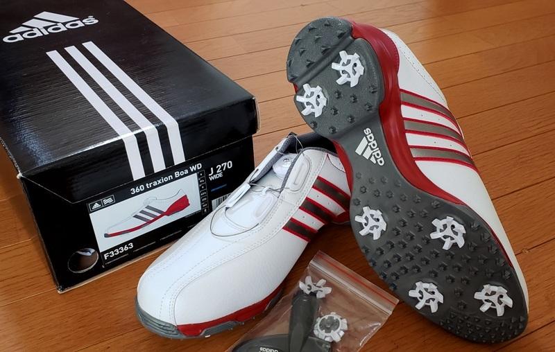 adidasゴルフシューズ(ボア)ホワイト シルバー&レッドステッチライン(26.5~27.0cm)=ヤフネコで送料安め=_画像7