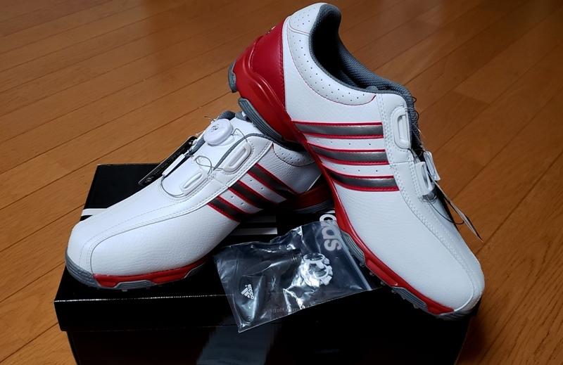 adidasゴルフシューズ(ボア)ホワイト シルバー&レッドステッチライン(26.5~27.0cm)=ヤフネコで送料安め=_画像10