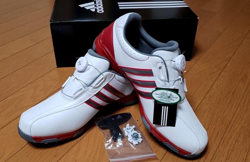 adidasゴルフシューズ(ボア)ホワイト シルバー&レッドステッチライン(26.5~27.0cm)=ヤフネコで送料安め=
