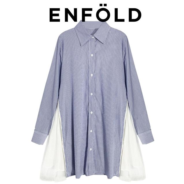 大人気 enfold エンフォルド ストライプシャツ 異素材 チュール ドッキング ブラウス シャツ シャツワンピース 完売 ブルー_画像2