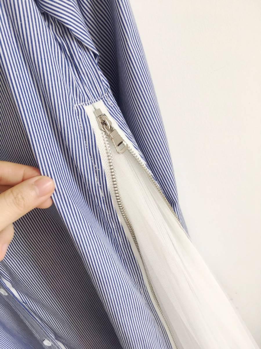 大人気 enfold エンフォルド ストライプシャツ 異素材 チュール ドッキング ブラウス シャツ シャツワンピース 完売 ブルー_画像7